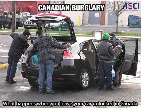 Khi bạn không khóa xe ở Canada, xe của bạn sẽ được đối xử như thế này đây