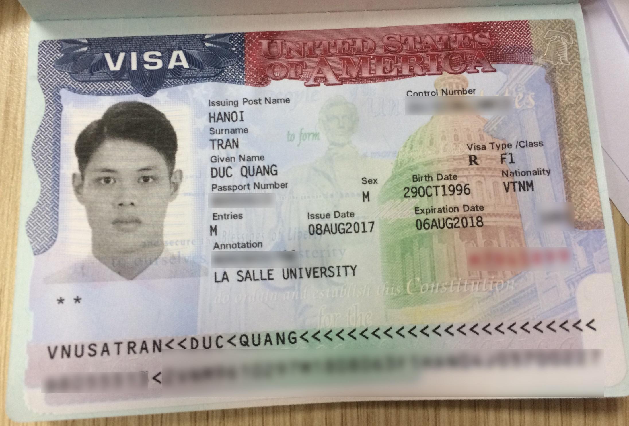 Tấm visa du học Mỹ giúp Quang tiến xa hơn với đam mê của mình
