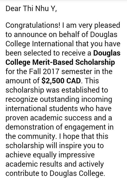 Vượt qua rất nhiều sinh viên quốc tế, Như Ý đã xuất sắc giành được học bổng tài năng lên đến $2.500 CAD