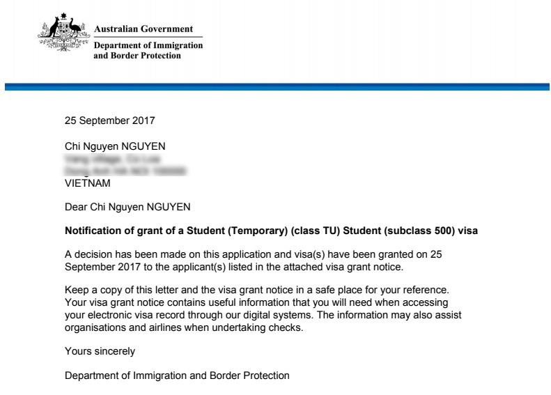 Thông báo đỗ visa du học Úc từ Đại sứ quán của Chí Nguyện