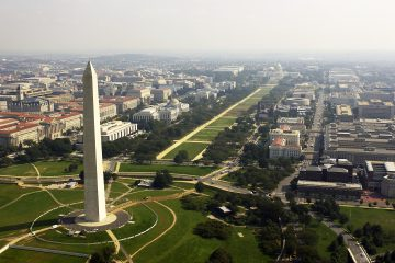 030926-F-2828D-307 Washington, D.C. (Sept. 26, 2003) -- Aerial view of the Washington Monument with the Capitol in the background.  DoD photo by Tech. Sgt. Andy Dunaway. (RELEASED)