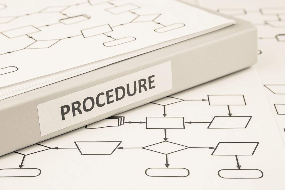 Document binder with PROCEDURE word on label place on blank process procedure flow charts, sepia tone image,  work instruction concept