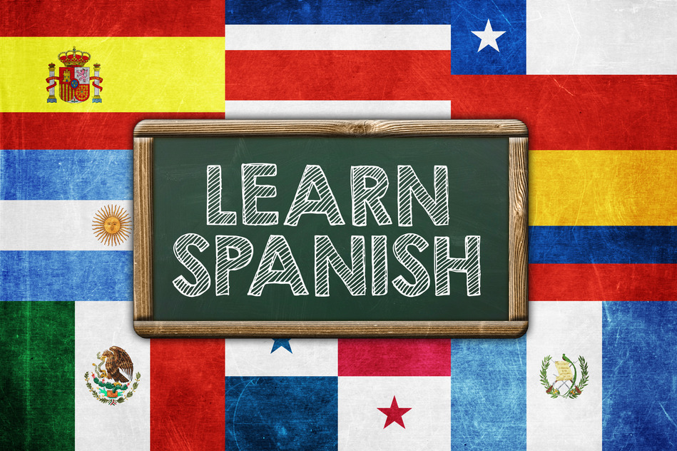 Learn Spanish - vintage background concept