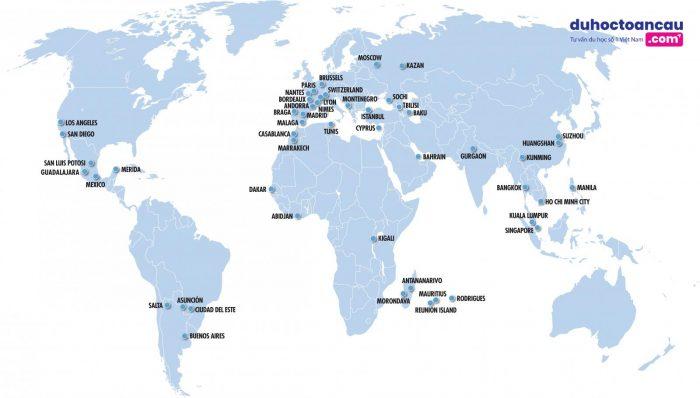 Vatel có 50 trường quản lý khách sạn tại Châu Âu, Châu Mỹ, Châu Á và Châu Phi.